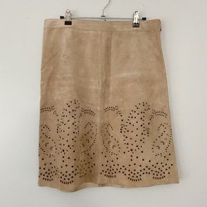 New Theory Genuine Suede Tan Laser Cut Skirt - 8
